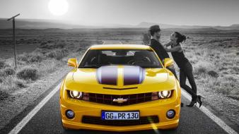 Yellow cars couple chevrolet camaro wallpaper
