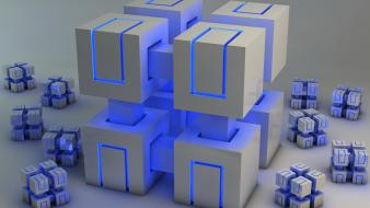 Abstract blue cubes neon Wallpaper