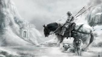 Art armor horses warriors spears swords wolves wallpaper