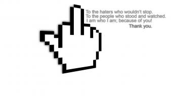 Black and white quotes fingers personal haters wallpaper