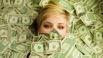 Blue eyes cash short hair dollar bills wallpaper