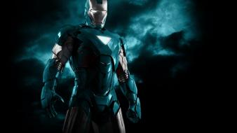Blue iron man robots superheroes armor black background Wallpaper