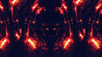 Blue red fire lava glow faces heat devils wallpaper