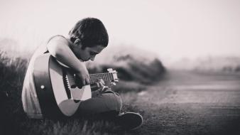 Boy black and white guitar music wallpaper