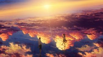 Boys skyscapes reflections girls skies original characters wallpaper