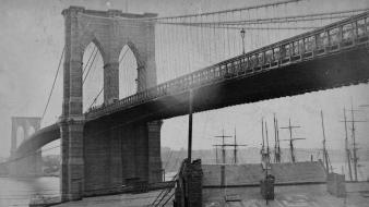 Brooklyn bridge historical nostalgia photo camera 1884 wallpaper