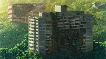 Buildings sunlight artwork post apocalyptic jean-pierre roy Wallpaper