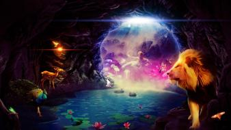Caves fantasy art lions wallpaper