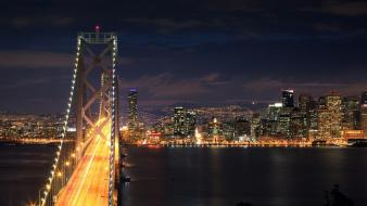 Cityscapes night bridges urban illuminated cities wallpaper