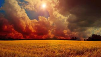 Clouds landscapes nature fields sunray wallpaper