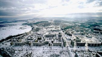 Clouds landscapes winter snow cityscapes cities wallpaper