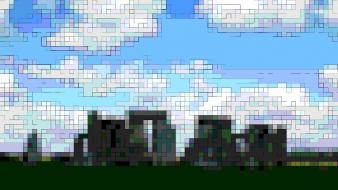 Clouds stonehenge pixelated wallpaper