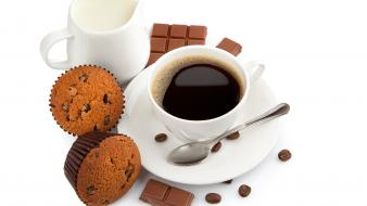 Coffee chocolate food spoons muffins wallpaper