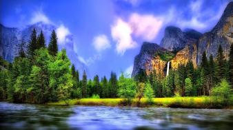 Forests landscapes mountains nature waterfalls wallpaper