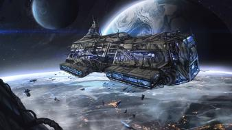 Futuristic spaceships science fiction wallpaper