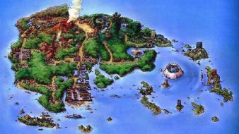 Games landscapes volcanoes houses islands maps hoenn wallpaper
