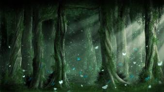 Green nature trees forest fantasy art digital butterflies wallpaper