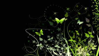 Green pattern artistic flowers black background butterflies wallpaper