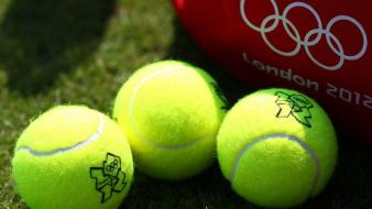 Green red yellow tennis olympics balls wallpaper