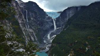 Hanging glacier waterfalls rivers emerald patagonia cliff wallpaper