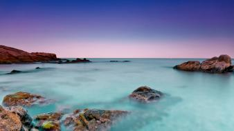 Horizon dark stones line morning azure sky wallpaper