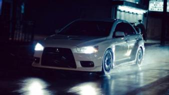 Japan cars mitsubishi vehicles lancer evolution white evo wallpaper