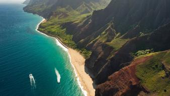 Landscapes nature forests hawaii cliffs oceans kauai beach wallpaper
