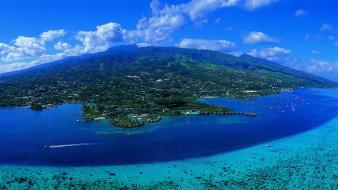 Landscapes nature islands oceans panorama tahiti beach wallpaper
