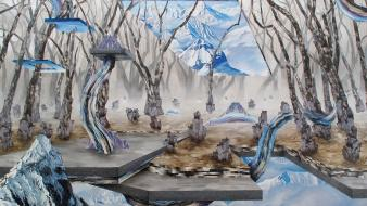 Landscapes snow trees surrealism artwork adam friedman Wallpaper