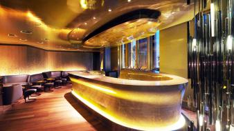 Lighting night club neon interior hotel lounge wallpaper