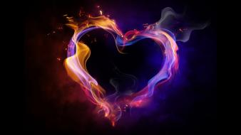 Love multicolor fire hearts colors wallpaper