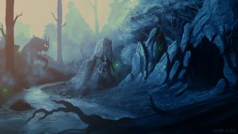 Monsters forests fantasy art creep warriors rivers Wallpaper