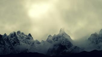 Mountains clouds landscapes nature snow gray wind gloomy wallpaper