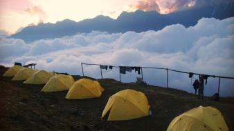 Mountains clouds tents camping wallpaper