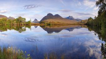 Mountains landscapes nature lakes highlands reflections scottish wallpaper