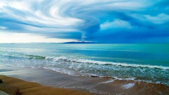Nature coast beach sand waves typhoon sky wallpaper