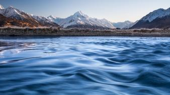 Nature new zealand rivers ao morning view wallpaper
