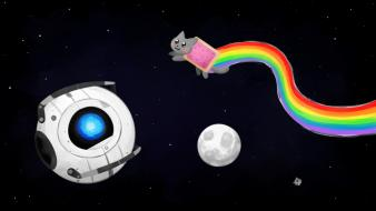Portal outer space nyan cat wheatley wallpaper