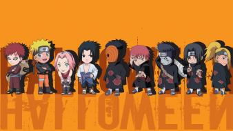 Sasori gaara uzumaki naruto tobi orange background wallpaper