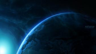 Space planets earth glowing science fiction sci-fi wallpaper