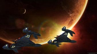 Space stars planets spaceships science fiction sci-fi Wallpaper