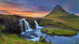 Sunset landscapes nature hills waterfalls rivers wallpaper