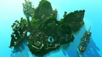Video games landscapes minecraft digital art artwork wallpaper