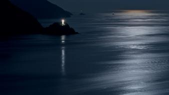Water japan landscapes silhouettes rocks moonlight beacon sea wallpaper