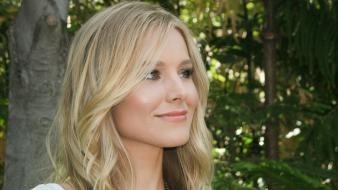 Blondes women kristen bell white dress board Wallpaper