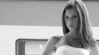 Brunettes women outdoors grayscale little caprice white dress wallpaper