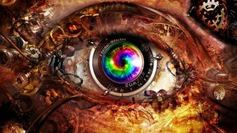 Close-up abstract eyes multicolor futuristic technology wallpaper