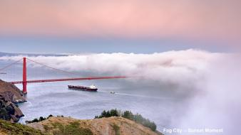 Fog golden gate bridge san francisco boats wallpaper