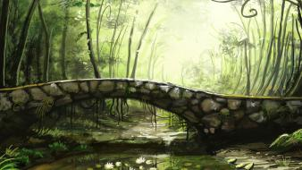 Landscapes bridges fantasy art rivers wallpaper
