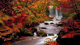 Landscapes nature autumn falls streams riverside rivers wallpaper